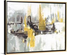 "Stunning abstract canvas artwork in black and white embellished with flashes of bright yellow. ""At the End of the Day"" canvas print by Circle Art Group, featured in a gold floating frame. Available for purchase at GreatBIGCanvas.com."