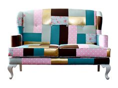 Nicola Wing Settee Patchwork by Heima Store Philippines Condo Living, Live Happy, Settee, Inspiration Boards, Dream Decor, Pinoy, Philippines, Diaper Bag, Patches