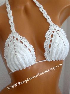 White Crochet Bikini Top Crochet Sexy One by RuveydaSweetDreams