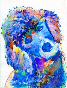 Poodle dog art Print from watercolor Painting Poodle dog Portrait light violet, pink decor art blue aqua marine colorful Poodle print by OjsDogPaintings on Etsy https://www.etsy.com/listing/231358123/poodle-dog-art-print-from-watercolor