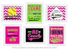softball decor theme printable custom 6pc set girls hot pink lime green black sports teen tween bedroom nursery wall art digital files only