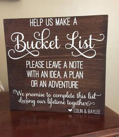 Wedding Gifts Diy Personalized Wedding Sign and Bucket List Combo ~ Includes Sign and Bucket - Card Box Wedding, Wedding Guest Book, Wedding Signs, Wedding Sign In Ideas, Best Wedding Ideas, Wedding Bells, Travel Bridal Showers, Bridal Shower Games, Bridal Shower Activities