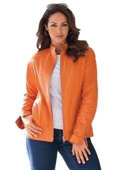 634e5b72afe3e Jessica London. Plus Size Leather JacketLeather ...