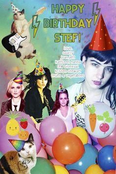 A birthday card for Stef via HAPPY BIRTHDAY STEF! LOVE, A+ AND THE INTERNET by Intern Cecelia
