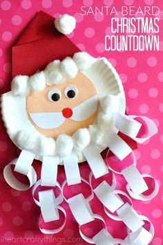 This Santa beard Christmas countdown craft is perfect for keeping kids excited about Christmas all month long. Cut off a paper chain from Santa's beard every day in December to count down to Christmas Day. Fun Christmas Craft for kids, Santa Craft and Chr Christmas Countdown Crafts, Countdown For Kids, Santa Crafts, Holiday Crafts, Santa Countdown, Spring Crafts, Christmas Activities For Kids, Preschool Christmas, Preschool Crafts