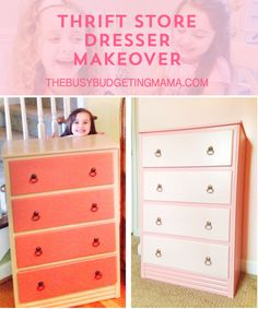 Thrift Store Dresser Makeover - Paint Colors - Thebusybudgetingmama.com
