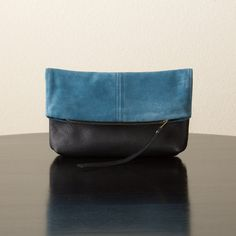 Suede Leather and Leather Foldover Clutch  Blue by jillydesigns, $99.00