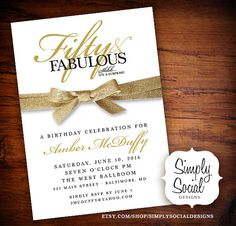 Surprise Fifty and Fabulous 60th 50th 40th by SimplySocialDesigns