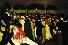 Pablo Picasso (1881-1973) – Le Moulin de la Galette, 1900 (Oil on canvas, Guggenheim Museum) – Le Moulin de la Galette, his first Parisian painting, reflects his fascination with the lusty decadence and gaudy glamour of the famous dance hall, where bourgeois patrons and prostitutes rubbed shoulders… Picasso had yet to develop a unique style, but Le Moulin de la Galette is nonetheless a startling production for an artist who had just turned 19.