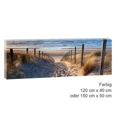 Sonnenuntergang am Meer Bild auf Leinwand Poster Nordsee Strand 120 cm*80 cm 243