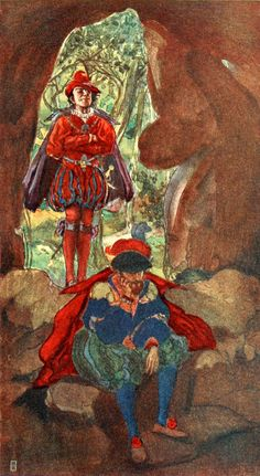 """Faust and Mephistopheles in the Cavern. From Goethe's """"Faust"""" illustrated by Willy Pogány (1908)"""