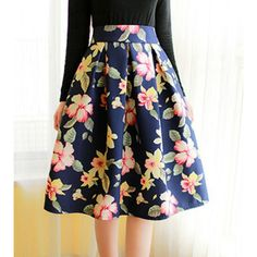 Vintage High-Waisted Floral Print Ruffled Women's Midi Skirt #women, #men, #hats, #watches, #belts, #fashion
