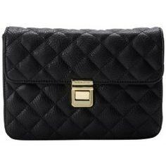 BCBGeneration Black Faux Leather Quinn Quilted Wristlet Clutch Handbag Bag www.BagLane.com
