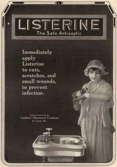 Cartel de Listerine cuando era utilizado para prevenir infecciones (1910)