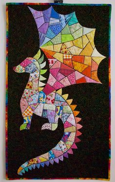 """""""Lily the Dragon"""" ticker tape quilt"""