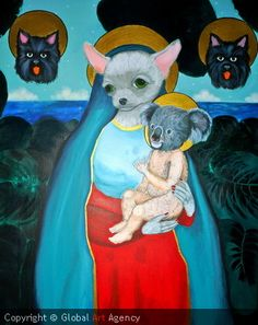 "Artist:Elena Vera Solodovnikova.  Title:""Virgin Chihuahua"".  Size:100 x 80 x 3 cm.  €621.81    Materials Acrylic on Canvas"