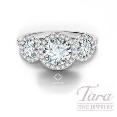 Round Diamond Halo Engagement Rings With Wedding Band 14