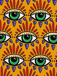 Eyes Wallpaper, Paper Wallpaper, Funky Art, Retro Art, Barbie Drawing, Evil Eye Art, Devil Eye, Eye Illustration, Hippie Wallpaper