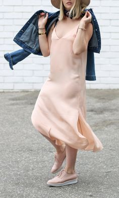 f554a060417c How To Style the Summer Slip Dress. Pink Silk Summer Slip Dress + Denim  Jacket