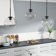 Illuminate the heart of your home in contemporary style with this three-light kitchen island pendant. Crafted from metal in a versatile solid finish, this fixture features a rectangular canopy and… Green Kitchen, Kitchen Colors, Kitchen Layout, Kitchen And Bath, New Kitchen, Kitchen Design, Awesome Kitchen, Updated Kitchen, Kitchen Stuff