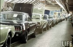 1968 Ford Mustang & Mercury Cougar Assembly Line 1968 Mustang, Mustang Fastback, Mustang Cars, Ford Mustangs, Retro Cars, Vintage Cars, Bicicletas Raleigh, Sonoma Raceway, Vintage Mustang