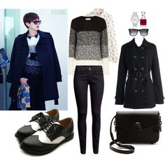 EXO Airport Fashion Chanyeol Inspired Outfit by smokingcrayonz on Polyvore featuring Uniqlo, H&M, Ollio, Alexander Wang, Forever New, Ray-Ban and Topshop