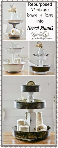 The best DIY projects & DIY ideas and tutorials: sewing, paper craft, DIY. Diy Crafts Ideas Repurposed Bowls & Tins Tiered Stands - Knick Of Time -Read Repurposed Items, Repurposed Furniture, Furniture Ideas, Primitive Furniture, Furniture Dolly, Furniture Logo, Furniture Showroom, Urban Furniture, Street Furniture
