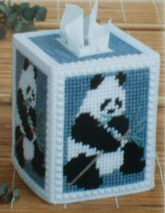 Plastic Canvas Bear Patterns | PANDA BEAR Tissue Box Cover Plastic Canvas PATTERN by M2Hawk