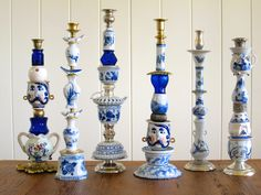 Unique, one-of-a-kind candlesticks created from unique objects that transform treasures of the past into functional pieces of art. Lampe Retro, Candle Sticks, Junk Art, Glass Garden, Trash To Treasure, Assemblage Art, Candleholders, Recycled Crafts, White Decor