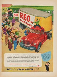 """Description: 1952 REO MOTORS vintage print advertisement """"REO for Pulling Power!""""-- The swing is to Reo, from coast-to-coast. Reo Builds The Amazing Eager Beaver Truck For The U.S. Army. -- Size: The dimensions of the full-page advertisement are approximately 10.5 inches x 14 inches (27cm x 36cm). Condition: This original vintage full-page advertisement is in Very Good Condition unless otherwise noted ()."""