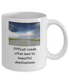 Show your encouragement by gifting this mug to those troubled souls who are finding life tough and difficult. Console them with the thought that at the end of the road there are often beautiful destinations.  • This mug features printing on both sides • High quality ceramic. • Treat yourself or give as a gift to someone special. • Ideal to show how much you care by understanding peoples problems • Start the day with a beautiful piece of drinkware made to make people smile. • Large easy grip…