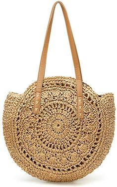 Women's Straw Handbag Handmade Woven Round Shoulder Bag for Summer Beach Large Weaving Tote (L, Brown),