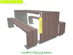 Table for public areas for picnic with Integrated Benches