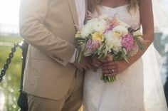 Pink, white and yellow bouquet {Molly Joseph Photography}