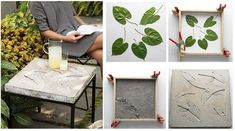 Concrete side table for your patio. - 28 Cutest Outdoor Concrete Projects For Your Home Stepping Stone Walkways, Cement Garden, Garden Ponds, Koi Ponds, Diy Möbelprojekte, Concrete Leaves, Diy Table Top, Concrete Crafts, Concrete Patio