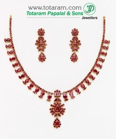 22 Karat Gold Ruby Necklace & Long Earrings Set with intricate workmanship. Gross Gold Weight: grams Ruby Weight: Carats Length of Pendant : Mens Gold Jewelry, Gold Rings Jewelry, Gold Jewelry Simple, Ruby Jewelry, Diamond Jewelry, Jewellery, Ruby Necklace Designs, Gold Ruby Necklace, Diy Jewelry Necklace