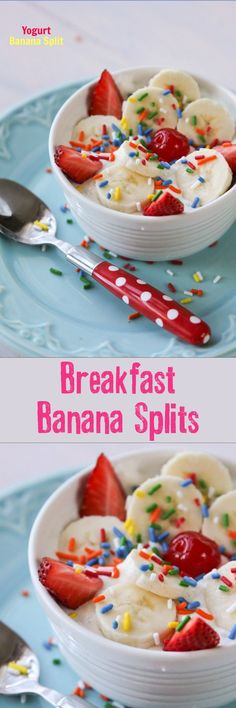 Breakfast Banana Splits!! A really fun and healthy breakfast that the kiddos absolutely love.
