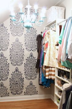 Swap the chandelier for a simple or at least coordinating lampshade DIY Closet Makeover - Persian Garden Damask Wall Stencil by Royal Design Studio - styled by Simple Stylings Dressing Room Closet, Closet Bedroom, Master Closet, Bedroom Decor, Dressing Rooms, Closet Space, Diy Dressing, Damask Wall Stencils, Home Living