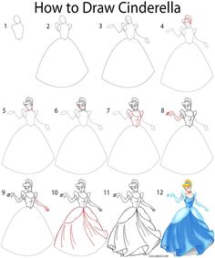 How to Draw Cinderella Step by Step Drawing Tutorial with Pictures | Cool2bKids