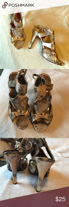 Legend snakeskin heels So cute and unique! Worn a handful of times. Gold and bronze. Great condition. Legend Shoes Heels