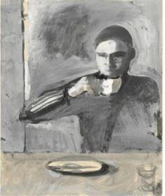 Richard Diebenkorn - The  Drinker, 1957. Gouache over graphite. Courtesy Yale University Art Gallery