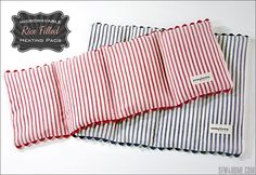 Microwavable Rice Filled Heating Pads - Sew4Home Rice Warmers Diy Heating Pads, Rice Bag Heating Pad, Homemade Heating Pad, Microwavable Heating Pad, Small Heating Pad, Hot Packs Diy, Ice Packs, Microwave Heat Bag, Diy Rice Bags