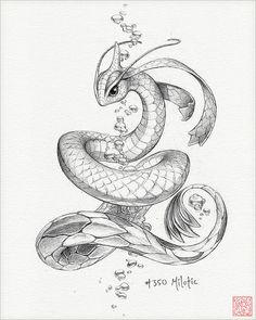 "Milotic 8 x 10 ""Druck (Pokemon Zeichnung Kunst Artwork Gaming Nintendo Dekor) Cool Art Drawings, Pencil Art Drawings, Cartoon Drawings, Animal Drawings, Pokemon Sketch, Manga Drawing, Drawing Sketches, Drawing Art, Pokemon Tattoo"