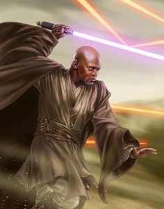 Mace Windu, by Chris Trevas - Star Wars Star Wars Fan Art, Star Wars Rpg, Star Wars Jedi, Star Wars Pictures, Star Wars Images, Star Wars Characters, Star Wars Episodes, Deviant Art, Digital Drawing