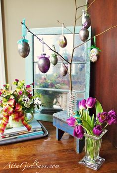 DIY Faux Mercury Glass Mirror...previous pinner pinned for mirror which is a great idea but the branch in vase with eggs is cute idea for Easter......