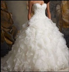 Sexy Strapless Organza White/Ivory Wedding Dress