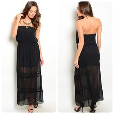 Black strapless maxi dress! Beautiful crochet detail- flattering cut- sheer hemline- stunning!  Follow me on Instagram @kfab333 for more items Dresses Maxi