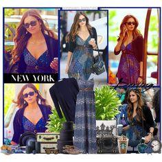 Nina Dobrev walking in New York streets, created by elenadobrev90 on Polyvore