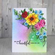 Made a one layer card, inspired by Kelly Latevola @disp6194 !!! Thank you for the fabulous video tutorials!!! Stamp by #pennyblackstamps #copiccoloring #copicmarkers #papercraft #handmadecards #cardmaking #수제카드