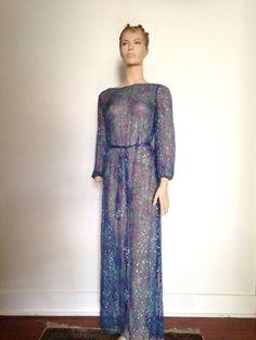 70's Sheer Silk Chiffon Gossamer Gown Maxi Dress medium